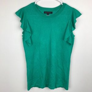 Banana Republic Green Flutter Sleeve Blouse XS
